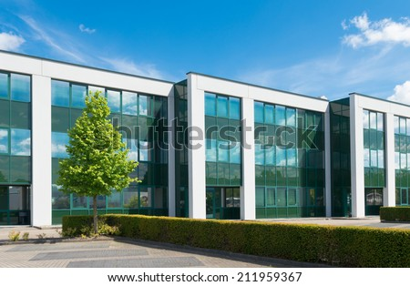 exterior of a modern office building - stock photo