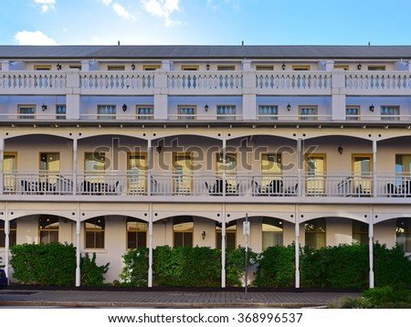 Exterior of an elegant classic hotel in Perth, Western Australia - stock photo