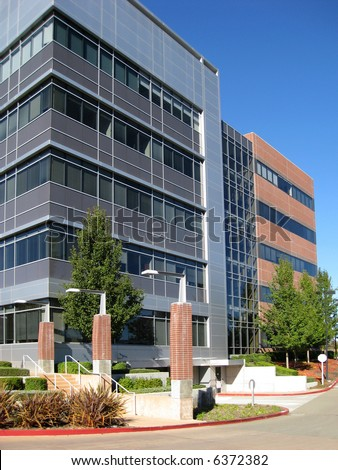 Exterior of contemporary office building - stock photo