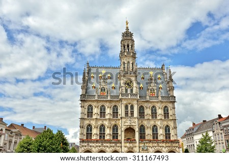 Exterior of medieval gothic city hall of Oudenaarde, Belgium - stock photo