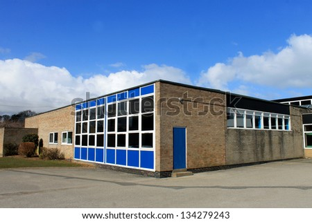 Exterior of modern school building, Scarborough, England. - stock photo