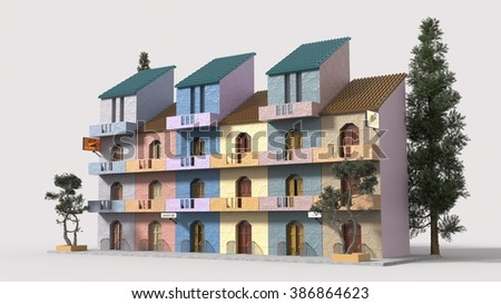 Exterior of modern trendy new colorful apartments - stock photo