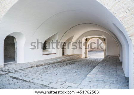 Exterior of old medieval gate in bastion fortress in Slovakia city Komarno . - stock photo