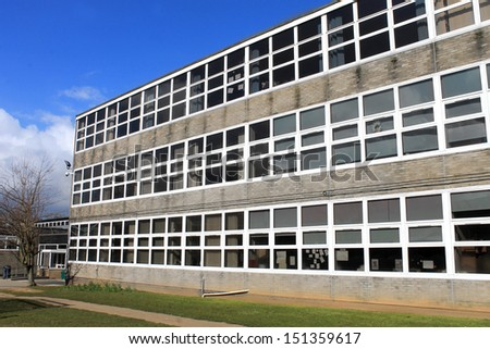 Exterior of secondary or comprehensive school building, Scarborough, England. - stock photo