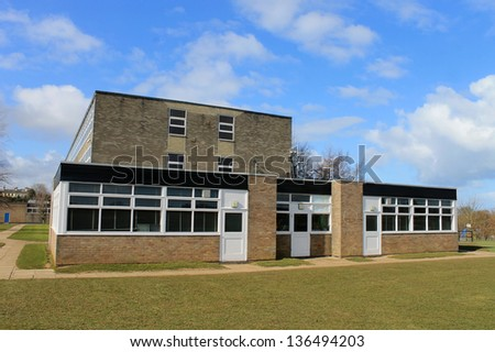 Exterior of secondary school building in Scarborough, England. - stock photo