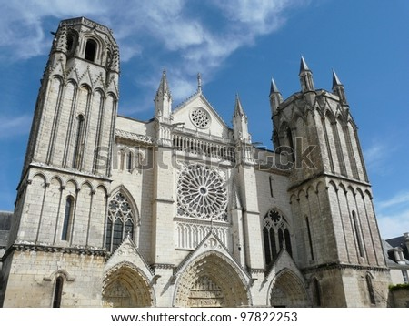 Exterior of the church of St Pierre in Poitiers, France - stock photo