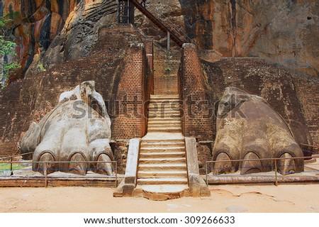 Exterior of the entrance to the Sigiriya Lion rock fortress in Sigiriya, Sri Lanka. Sigiriya is listed as UNESCO World Heritage Site. - stock photo