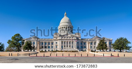 Exterior of the front of the Arkansas State Capitol building in Little Rock, Arkansas - stock photo