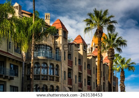 Exterior of the Mission Inn, in Riverside, California. - stock photo