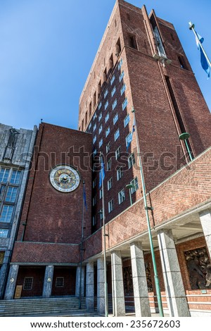 Exterior of the Oslo City Hall in Norway - stock photo