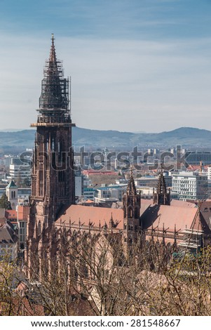 Exterior of wold famous Freiburg Muenster cathedral, a medieval church in the city of Freiburg, Germany, at the edge of the Black Forest - stock photo