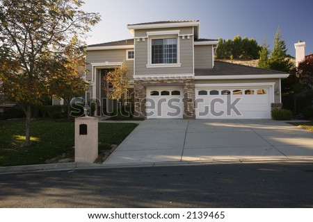 Exterior shot of a home in the Northern California East Bay Area of Martinez, CA. - stock photo