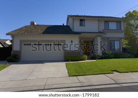 Exterior shot of a modern home. - stock photo