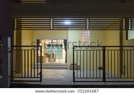 Exterior Townhome or Townhouse can see interior living room - stock photo