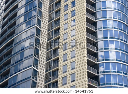 Exterior view of a modern skyscraper. - stock photo