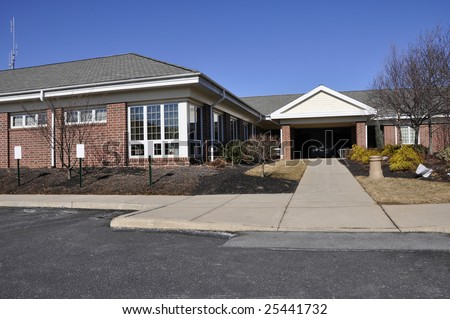 exterior view of a small office building in a business park - stock photo
