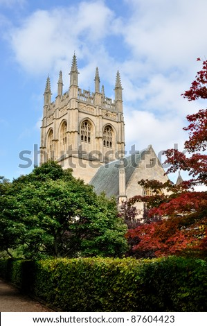 Exterior view of Christ Church Cathedral, Oxford - stock photo