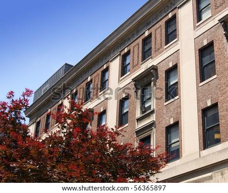 Exterior view of college dorms. - stock photo