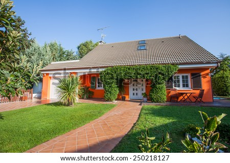 Exterior view of house - stock photo