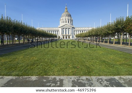 exterior view of the city hall of San Francisco, USA - stock photo