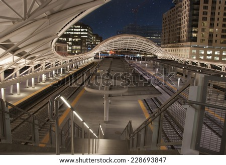 Exterior view of Union Station in Denver at night time - stock photo
