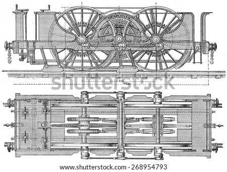 Exterior view plane and locomotor Agudio, Provision proposed for transversee of access ramps Gotthard, vintage engraved illustration. Industrial encyclopedia E.-O. Lami - 1875.  - stock photo