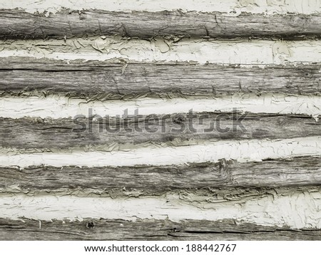 Exterior wall of a restored log cabin, built by pioneers around 1838, on prairie owned and managed by the state of Illinois, USA - stock photo