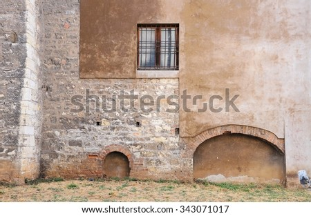Exterior wall of the Gothic church. Beginning of the year 1300. - stock photo