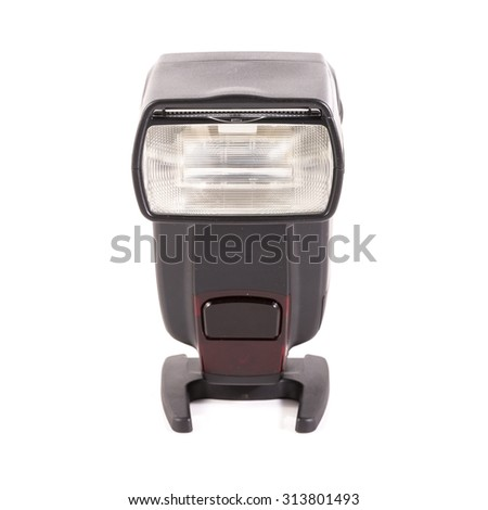 external camera flash isolated on white - stock photo