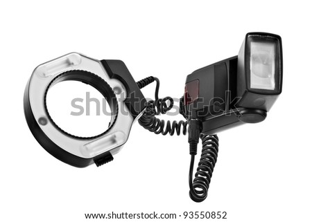 External camera flash with ring flash, isolated on white background - stock photo