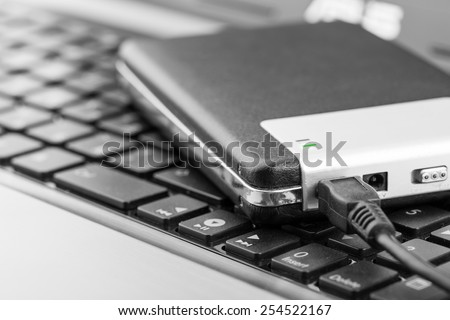 External drive connecting with computer - stock photo