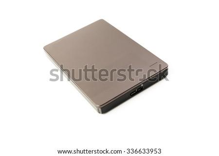 External Hard Disk USB 3.0 on isolated white background - stock photo