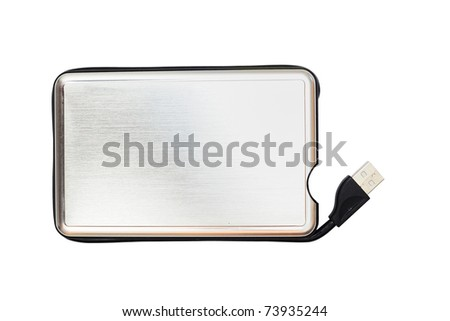External hard drive on white background - stock photo