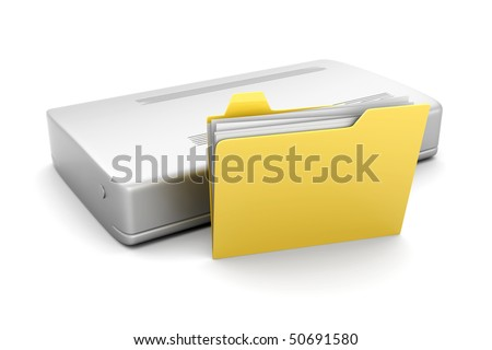External Harddrive Folder - stock photo
