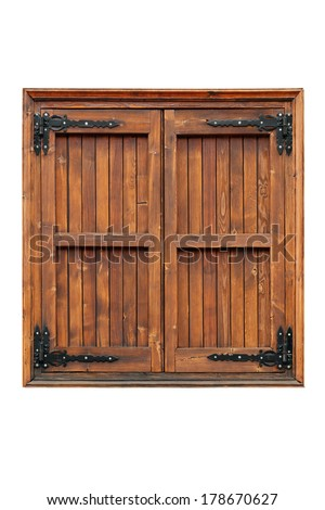 External side of a casement wooden window with shutters closed isolated - stock photo