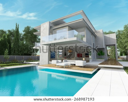 External view of a contemporary house with pool  - stock photo