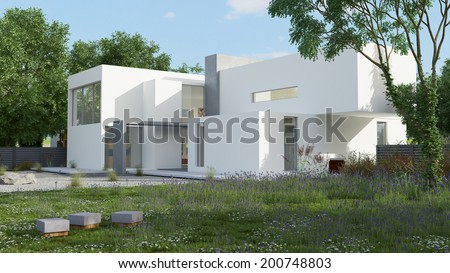 External view of a contemporary house with pool at daylight - stock photo