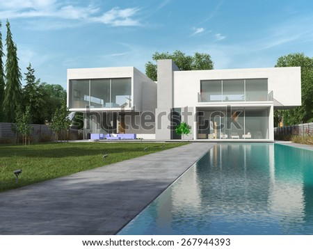 External view of a contemporary house with pool, 3D rendering - stock photo
