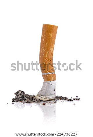 Extinguished cigarette butt isolated on white background - stock photo