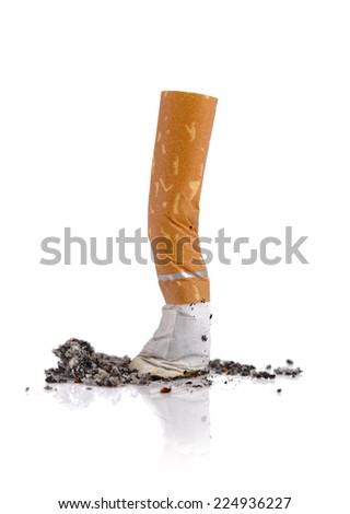 Extinguished cigarette butt isolated on white background - stock photo