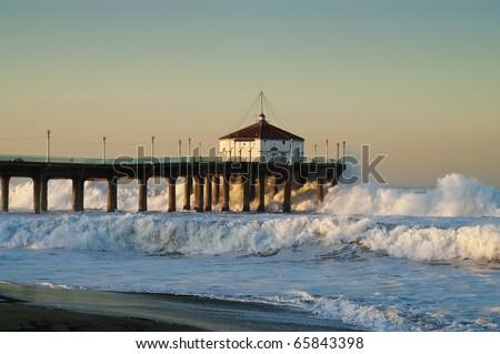Extra Large Surf at the Manhattan Beach Pier California - stock photo