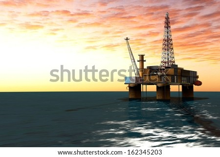 extraction of oil from oil platform - stock photo