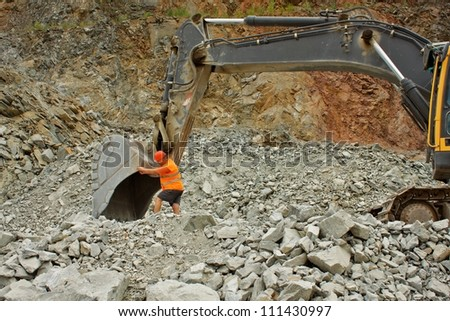 extraction of stone in the quarry in Czech Republic, village Predklasteri - stock photo