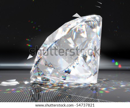 Extralarge resolution. Large diamond with striped reflection and sparkles over metallic background - stock photo