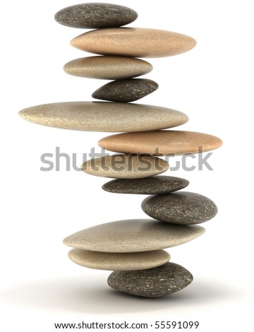 Extralarge resolution. Stability and Zen. Balanced stone tower over white - stock photo