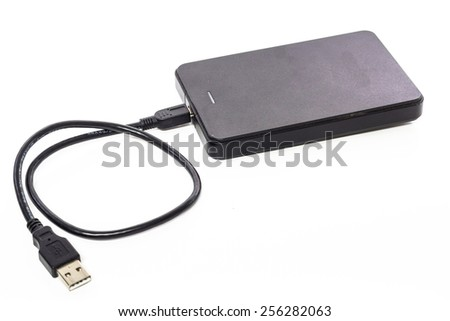 Extranal hard disk isolated on a white background - stock photo