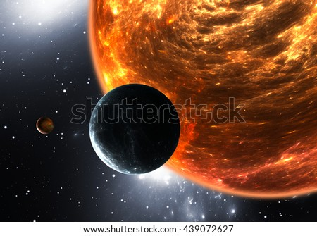 Extrasolar planets or exoplanets and red dwarf or red supergiant. 3D illustration - stock photo