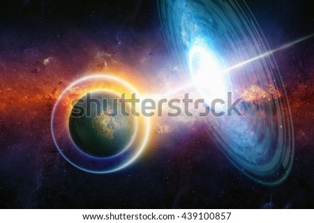 Extraterrestrial aliens spaceship hits planet in deep space, space war in red glowing galaxy. Planet uses energy shield to protect against attack. Elements of this image furnished by NASA.  - stock photo