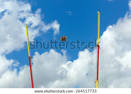 Extreme attraction - catapult in the park on a bright sunny day against the sky. - stock photo