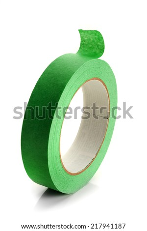 Extreme close-up image of a roll of masking tape on white - stock photo